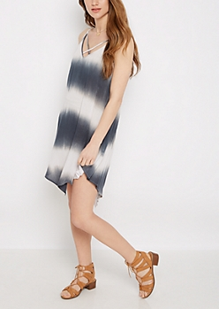 Tie Dye Cross-Strap Hanky Dress