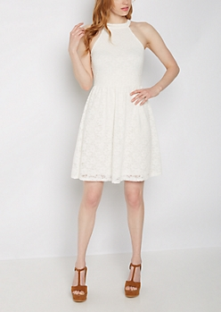 Eyelet Lace High Neck Skater Dress