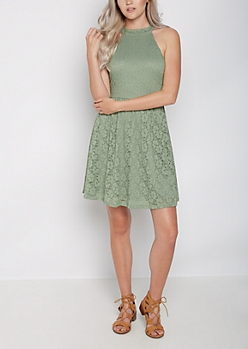 Olive Eyelet Lace High Neck Skater Dress