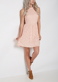 Pink Eyelet Lace High Neck Skater Dress