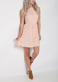 Pink Eyelet Lace High Neck Skater Dress