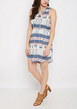 Tribal Elephant Lace-Up Shirt Dress