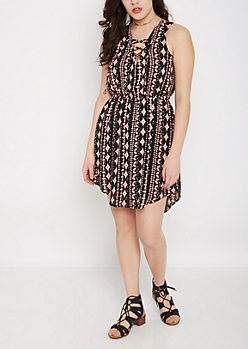 Geo Tribal Lace-Up Shirt Dress