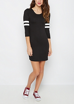 Black Soft Knit Varsity Stripe Dress