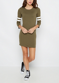 Olive Soft Knit Varsity Stripe Dress