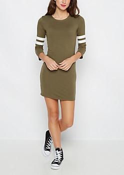 Olive Soft Knit Varsity Stripe Dress