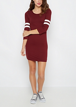 Burgundy Soft Knit Varsity Stripe Dress