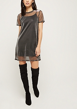 Silver Shimmer Sheer T Shirt Dress