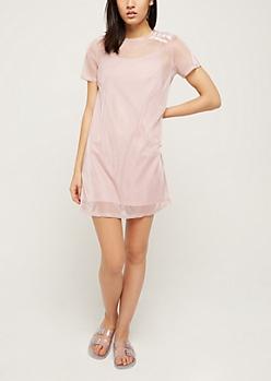 Pink Shimmer Sheer T Shirt Dress