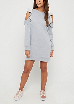 Heather Gray Ruffled Cold Shoulder Sweatshirt Dress