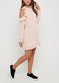 Pink Ruffled Cold Shoulder Sweatshirt Dress