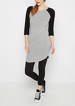 Black & Gray Soft Knit Raglan Dress