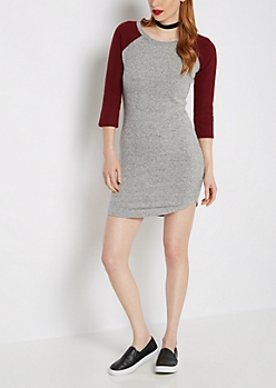 Burgundy & Gray Soft Knit Raglan Dress