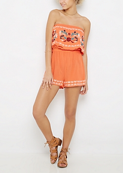 Coral Floral Embroidered Off-Shoulder Romper