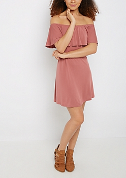 Dusty Pink Flounce Off-Shoulder Dress