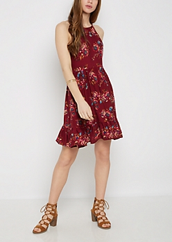 Burgundy Floral High Neck Babydoll Dress