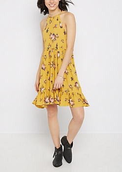 Mustard Floral High Neck Babydoll Dress