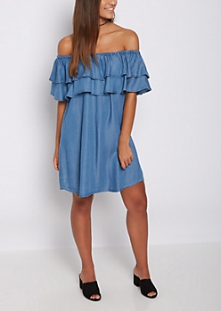 Ruffled Flounce Off Shoulder Chambray Dress