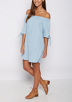 Chambray Off Shoulder Shift Dress