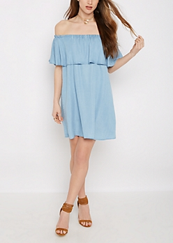 Ruffled Chambray Off Shoulder Dress