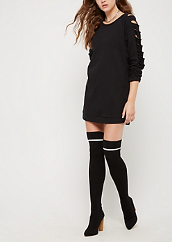 Slashed Sleeve Sweatshirt Dress