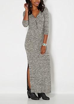 Gray Burgundy Zipped Maxi Dress