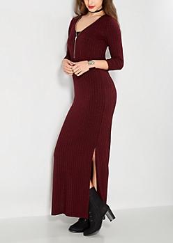Marled Burgundy Zipped Maxi Dress