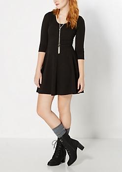Black Chevron Embossed Skater Dress