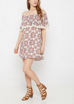 Boho Medallion Popover Off Shoulder Dress