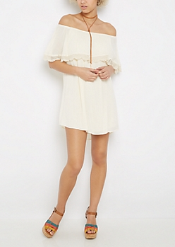 Ivory Popover Off Shoulder Dress