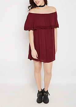 Burgundy Popover Off Shoulder Dress