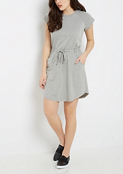 Gray French Terry Hooded Dress