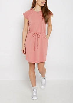 Pink French Terry Hooded Dress