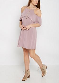 Lavender Flounce Cold Shoulder Dress