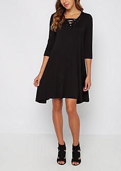 Black Lace-Up Sneaker Dress