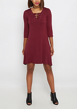 Burgundy Lace-Up Sneaker Dress