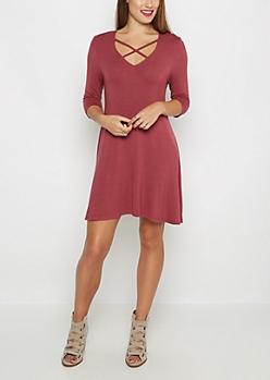 Dark Pink Lattice Neck Swing Dress