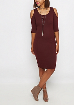 Burgundy Cold Shoulder Ribbed Bodycon Dress
