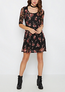 Rosy Lace Fit & Flare Dress
