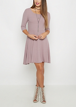 Lavender Rib Knit Skater Dress