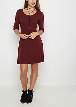 Burgundy Rib Knit Skater Dress