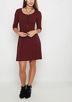 Burgundy Rib Knit Skater Dress