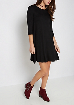 Black French Terry Swing Dress