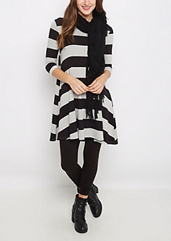 Striped French Terry Swing Dress
