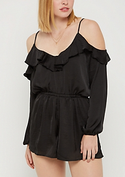 Black Satin Flounced Romper