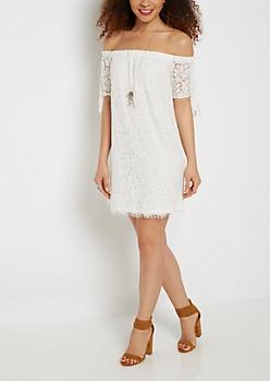 Floral Lace Off-Shoulder Dress