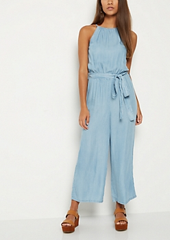High Neck Chambray Jumpsuit