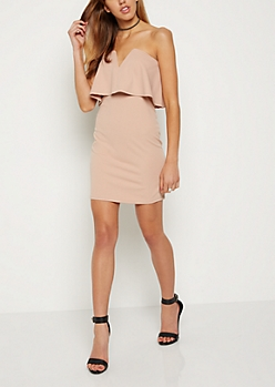 Pink V Cut Flounce Mini Dress