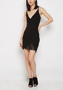 Black Surplice Lace Cut Dress
