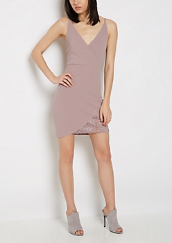 Mauve Surplice Lace Cut Dress